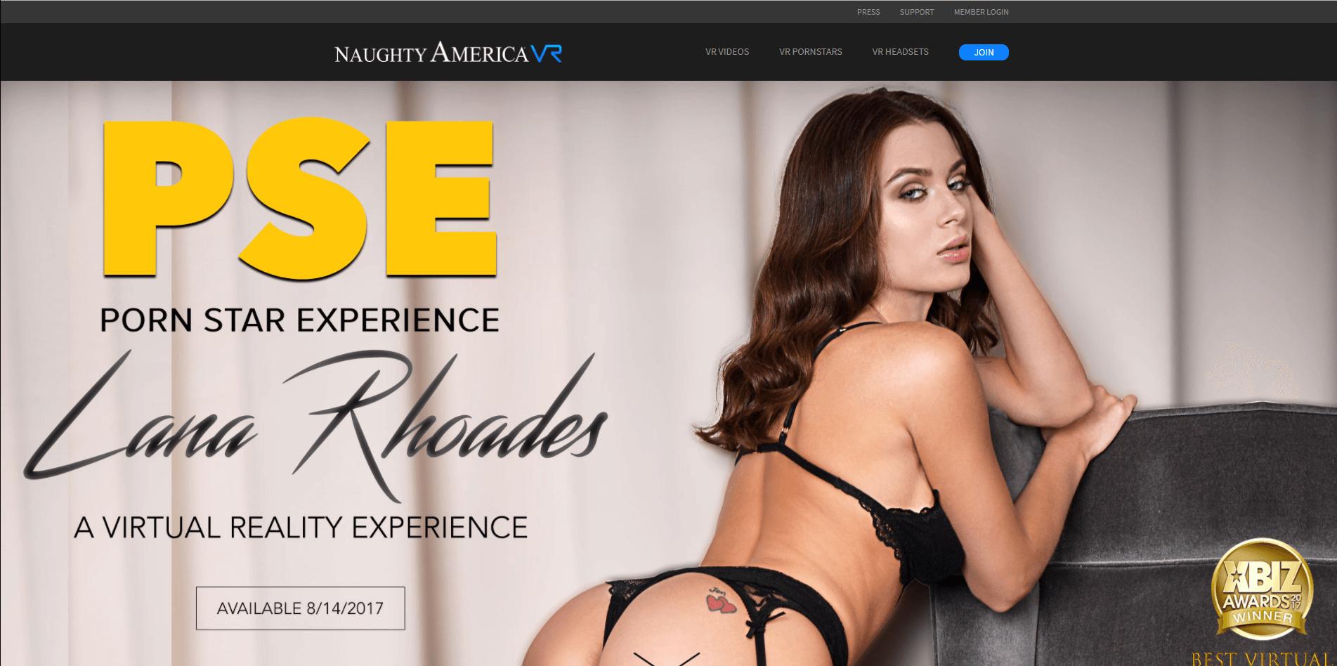 Naughty America VR Landing Page