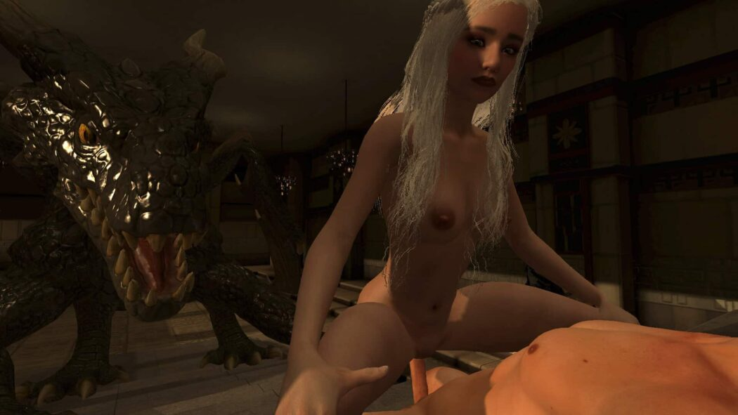 Khaleesi riding cowgirl in Sinvr game